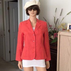 Talbots orange linen blazer